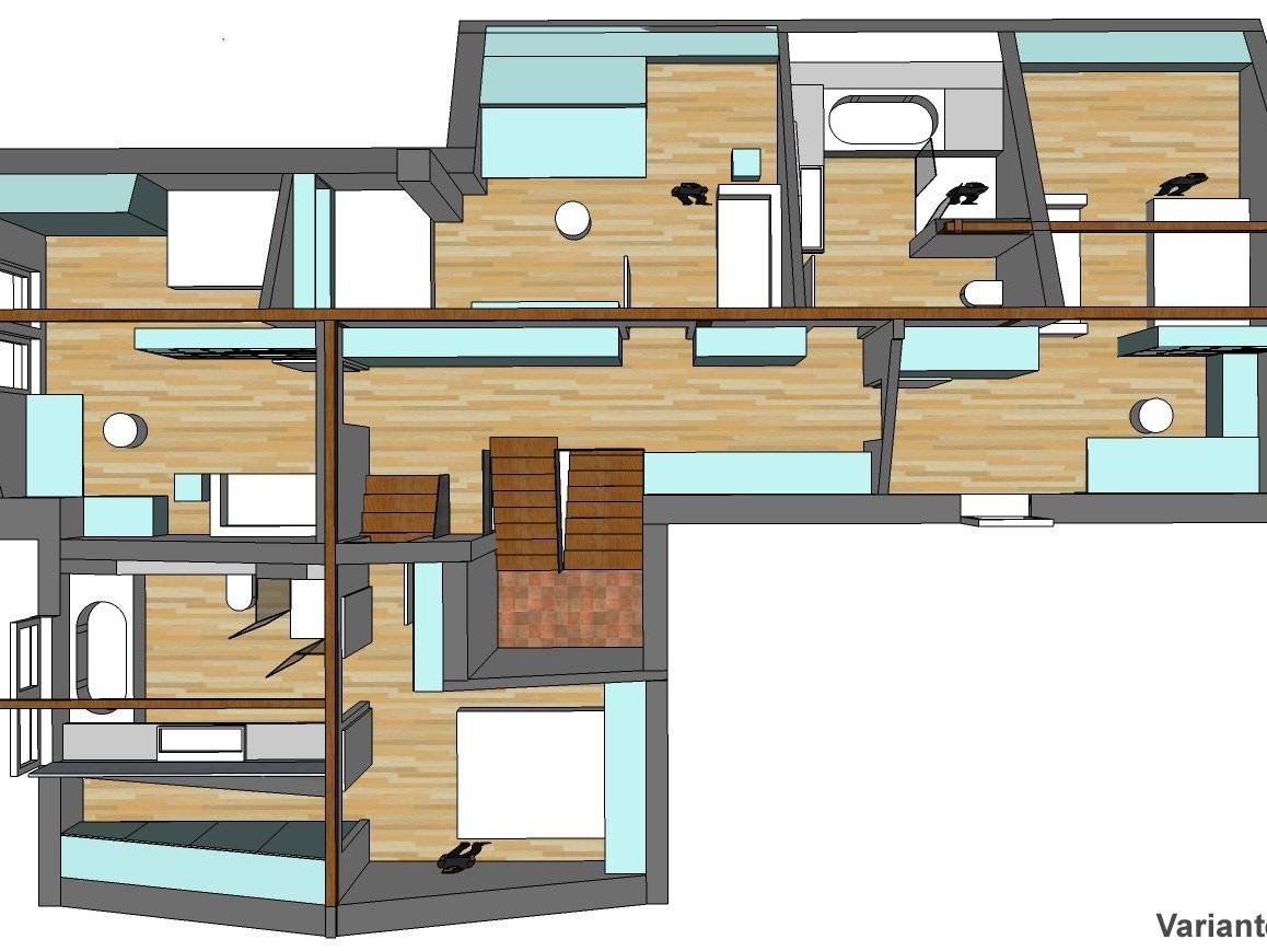 Raumkonzepte Dachgeschoss-Umbau - Visualisierung von oben, Variante 1