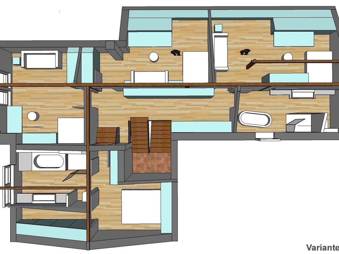 Raumkonzepte Dachgeschoss-Umbau - Visualisierung von oben, Variante 2