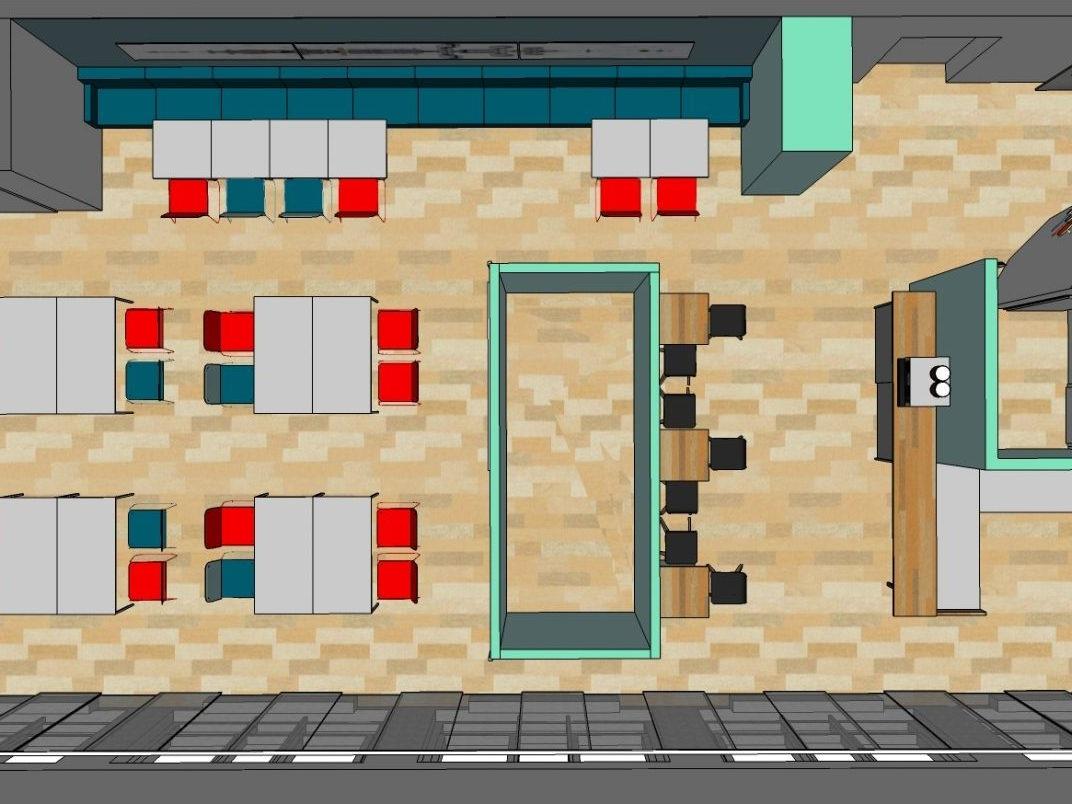 Sozial- und Seminarraum - Visualisierung von oben