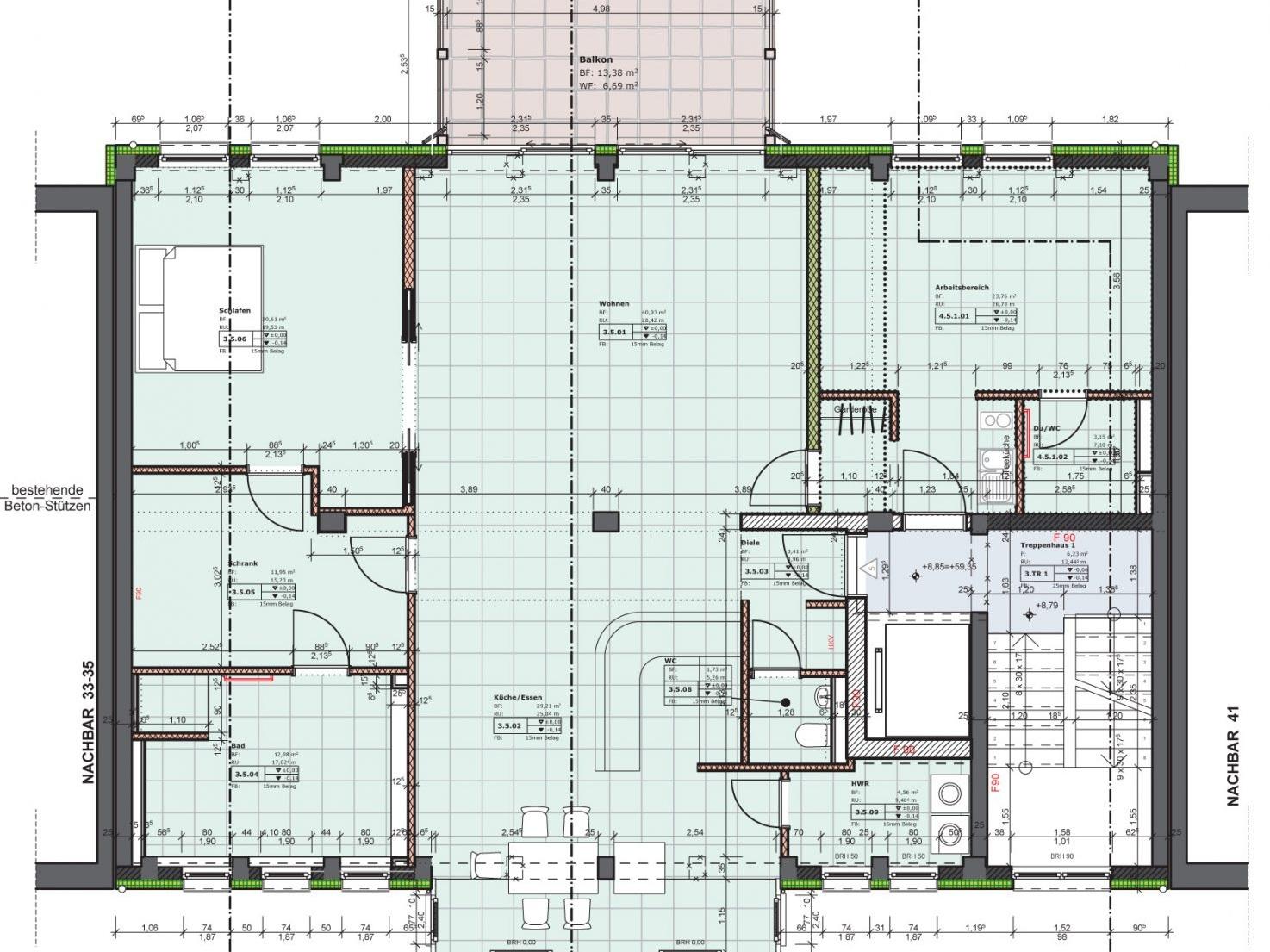 Nutzungskonzepte Loftwohnung - Planung des Bauträgers