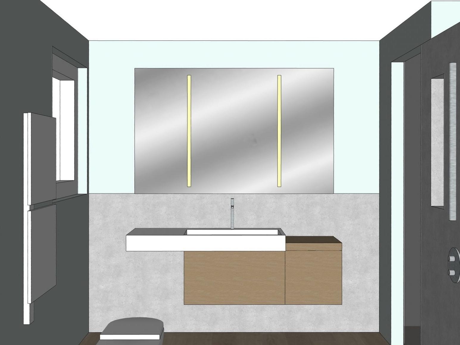 Badkonzepte für Duschbad - Variante 1, Waschplatz