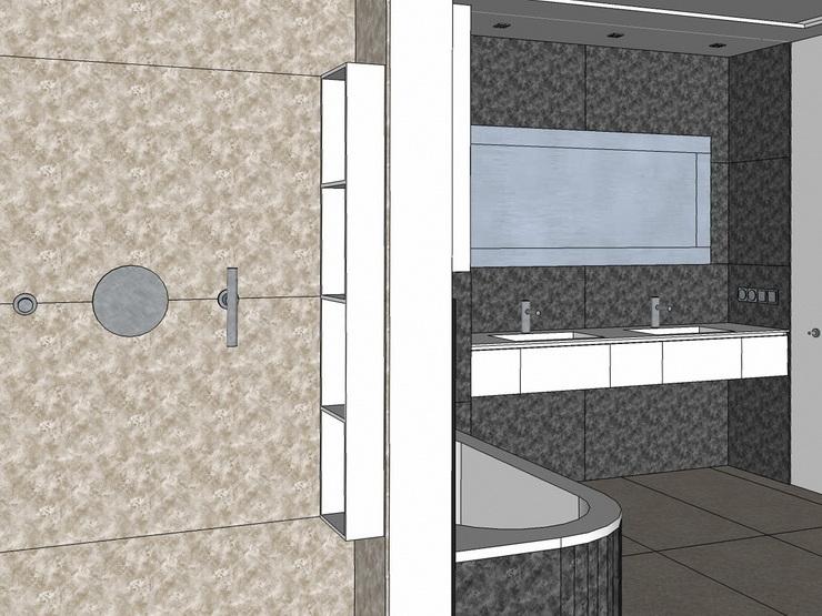 Wannenbad mit Gräsern - Visualisierung Blick aus Dusche