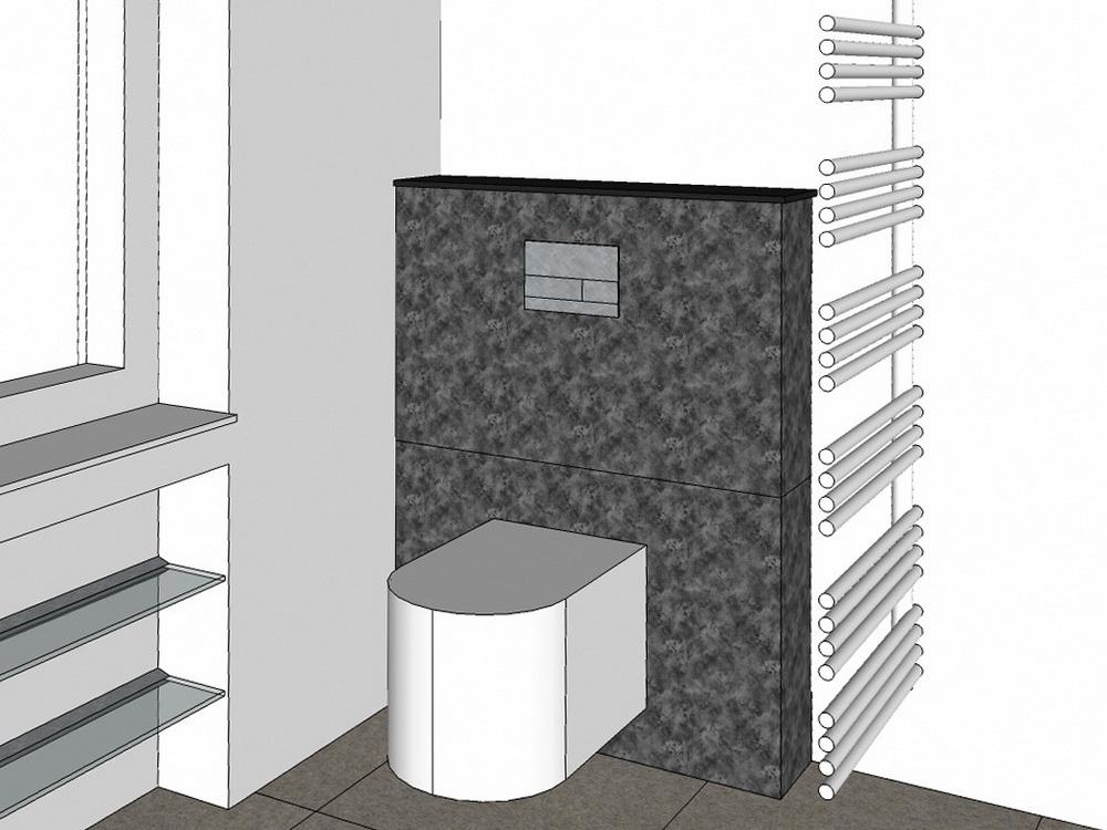 Wannenbad mit Gräsern - Visualisierung WC