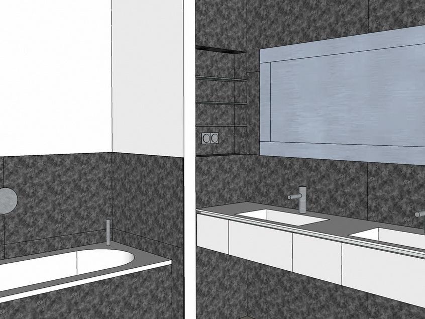Wannenbad mit Gräsern - Visualisierung Wanne und Waschtisch