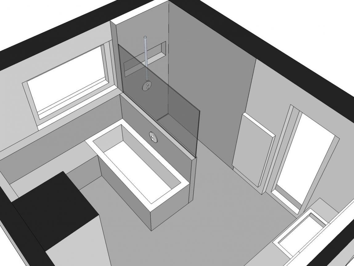 Familienbad - Visualisierung Wanne und Dusche von oben