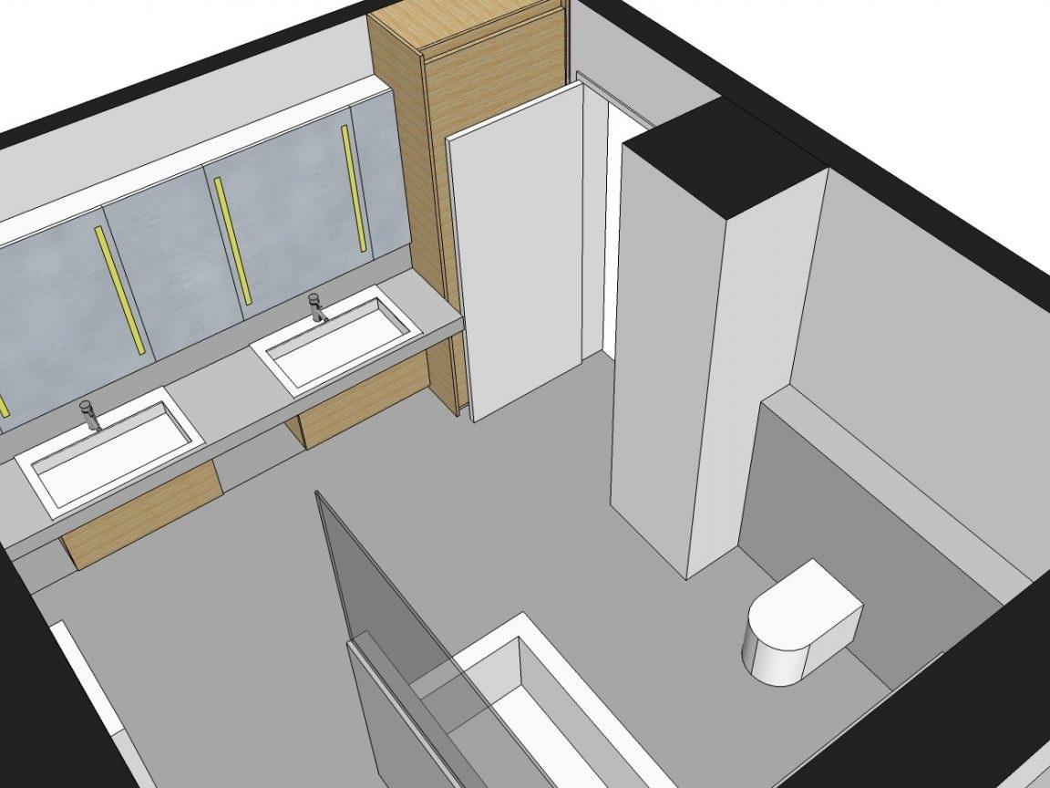 Familienbad - Visualisierung Waschtisch und WC von oben