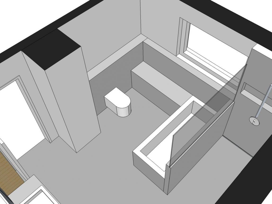 Familienbad - Visualisierung Wanne und WC von oben
