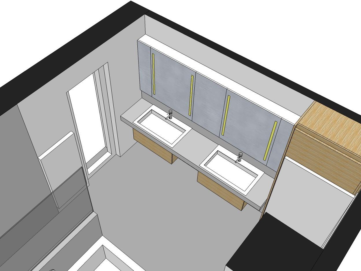 Familienbad - Visualisierung Waschtisch von oben