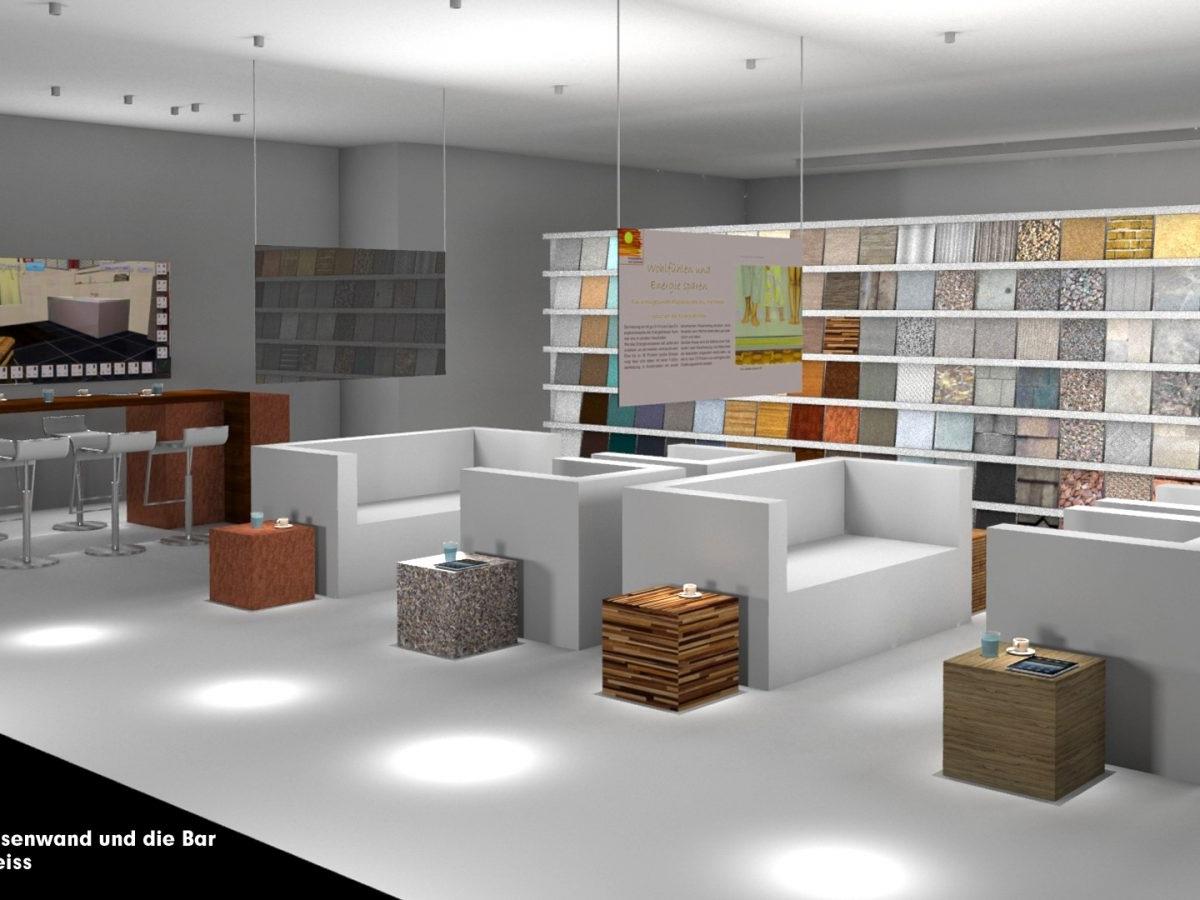 Shopkonzept Ausstellung 2020 - Visualisierung Blick auf Bar und Sitzgruppen