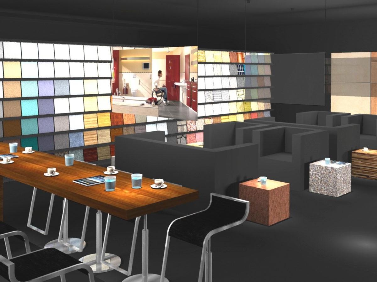 Shopkonzept Ausstellung 2020 - Visualisierung Blick auf Musterwand