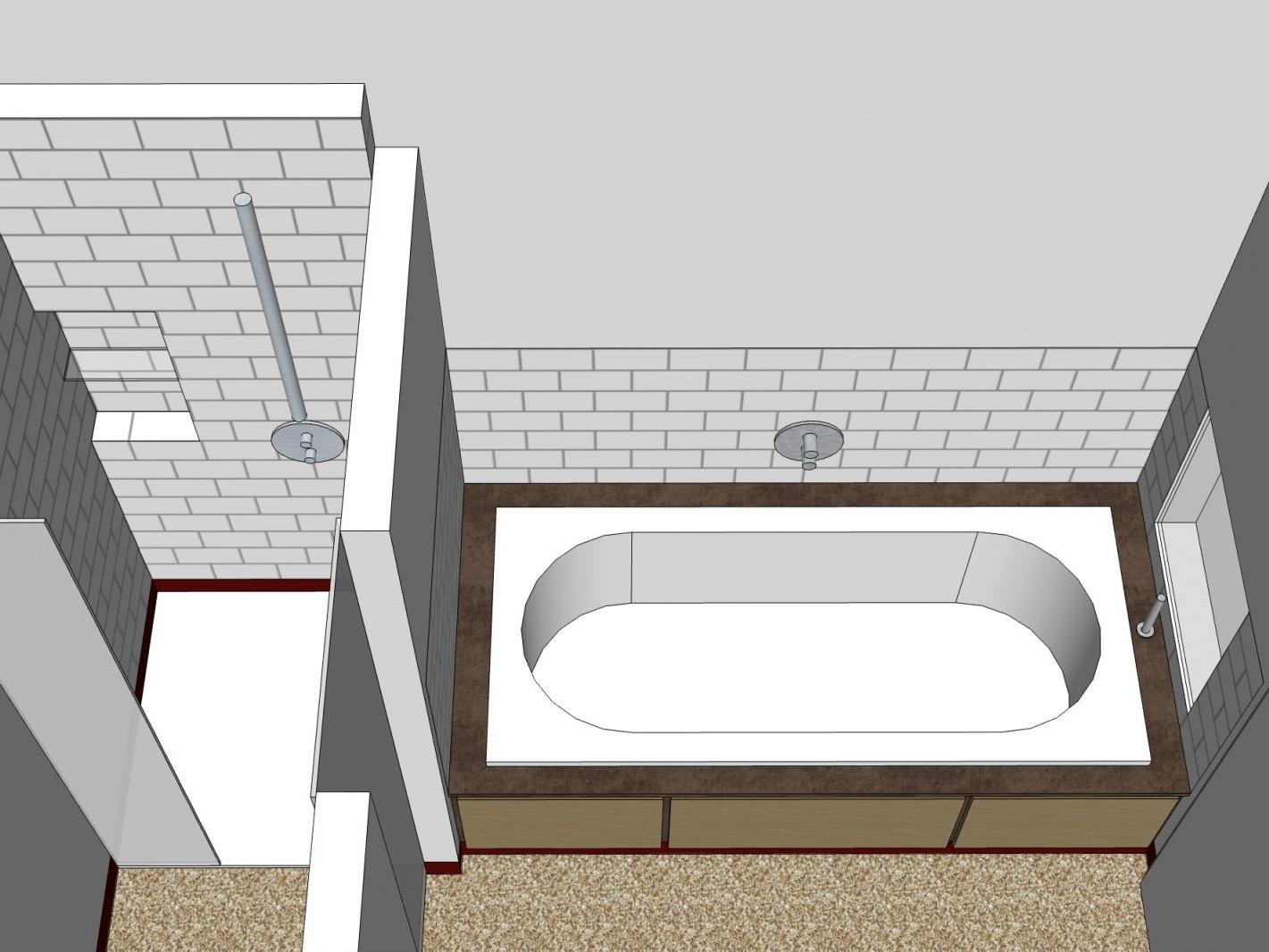 Paarbad mit Lichtkuppel - Visualisierung Wanne und Dusche