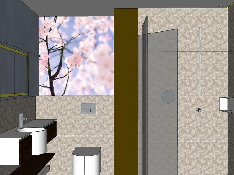 Duschbad mit Kirschblüten - Visualisierung Schnitt