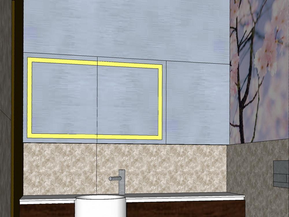 Duschbad mit Kirschblüten - Visualisierung Spiegel