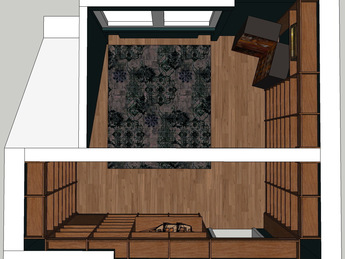 Bibliothek unterm Dach - Visualisierung von oben