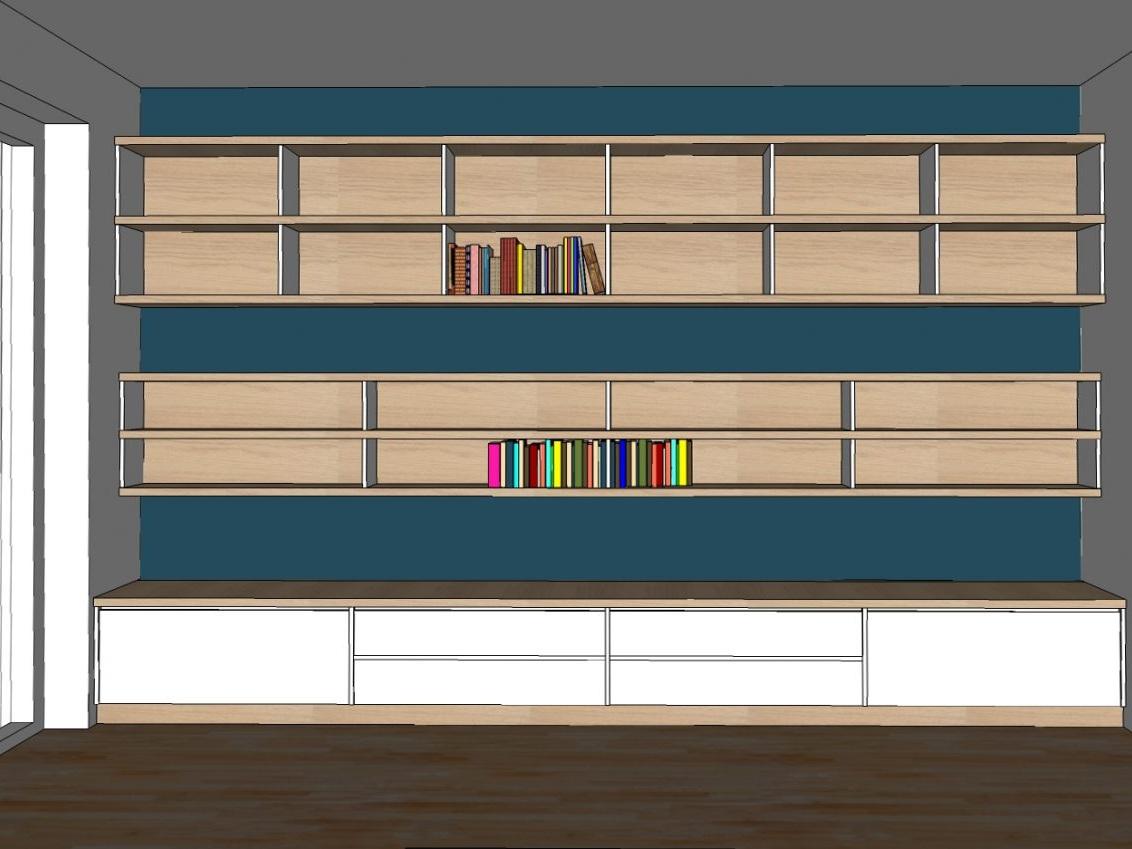 Raumhohe Bücherwand - Visualisierung