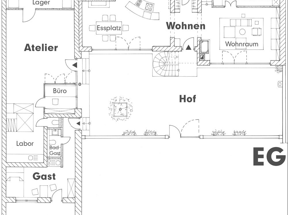 Wohnhaus mit Büro / Atelier mit Gästewohnung - Grundriss EG