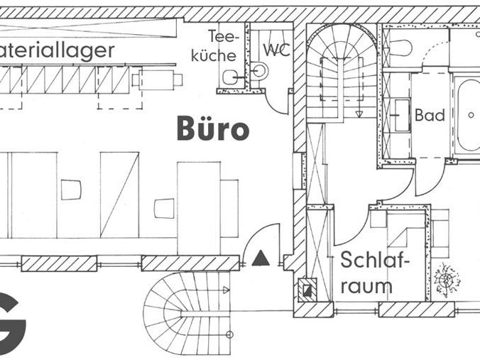 Wohnhaus mit Büro / Atelier mit Gästewohnung - Grundriss OG