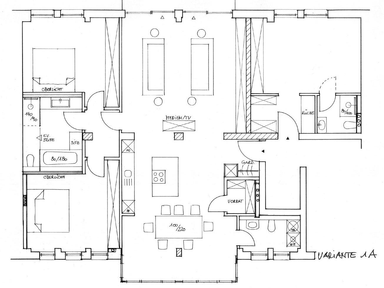 Nutzungskonzepte Loftwohnung - Variante 1 A
