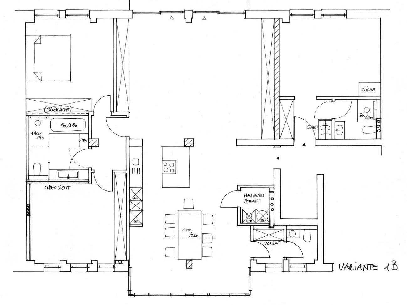 Nutzungskonzepte Loftwohnung - Variante 1B