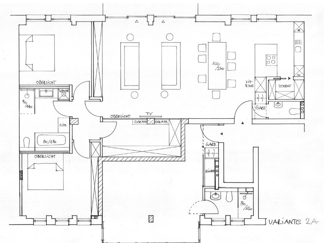 Nutzungskonzepte Loftwohnung - Variante 2 A