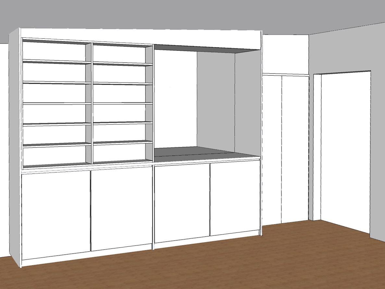 Bücherregal mit Stauraum über der Treppe - Visualisierung geöffnet