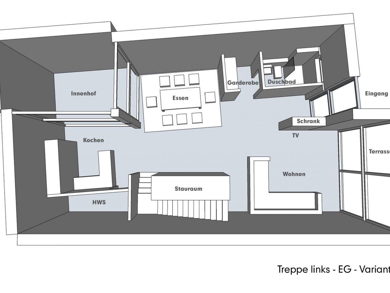 Nutzungskonzepte für Neubau - Treppe links - EG - Variante A