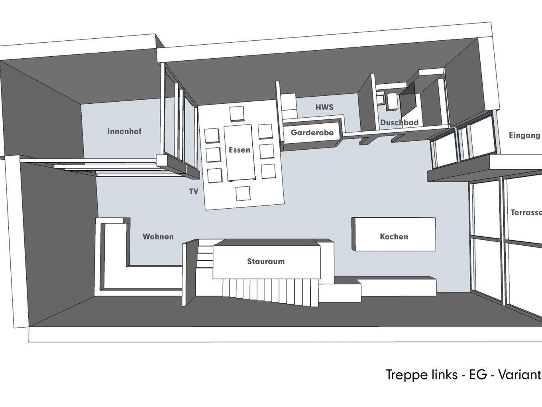 Nutzungskonzepte für Neubau - Treppe links - EG - Variante B