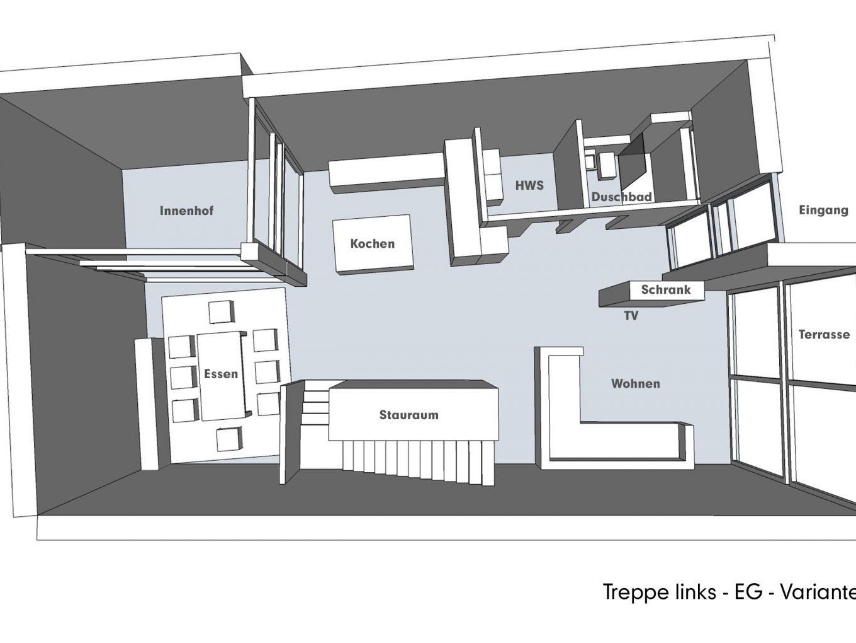 Nutzungskonzepte für Neubau - Treppe links - EG - Variante C