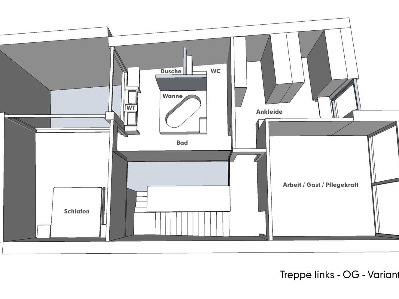 Nutzungskonzepte für Neubau - Treppe links - OG - Variante A
