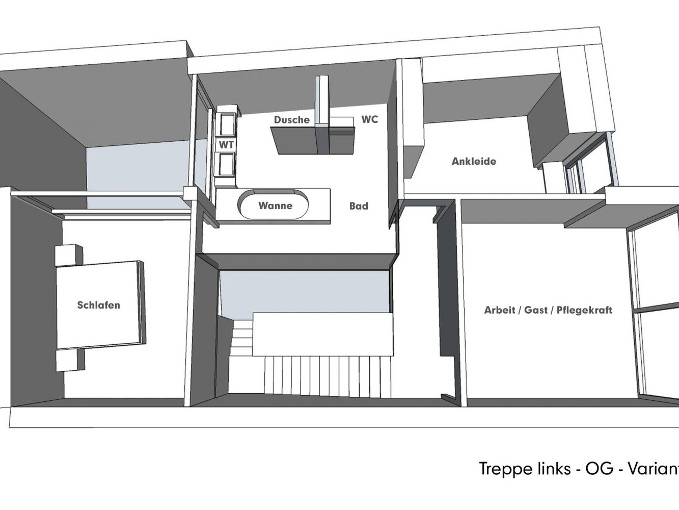 Nutzungskonzepte für Neubau - Treppe links - OG - Variante B