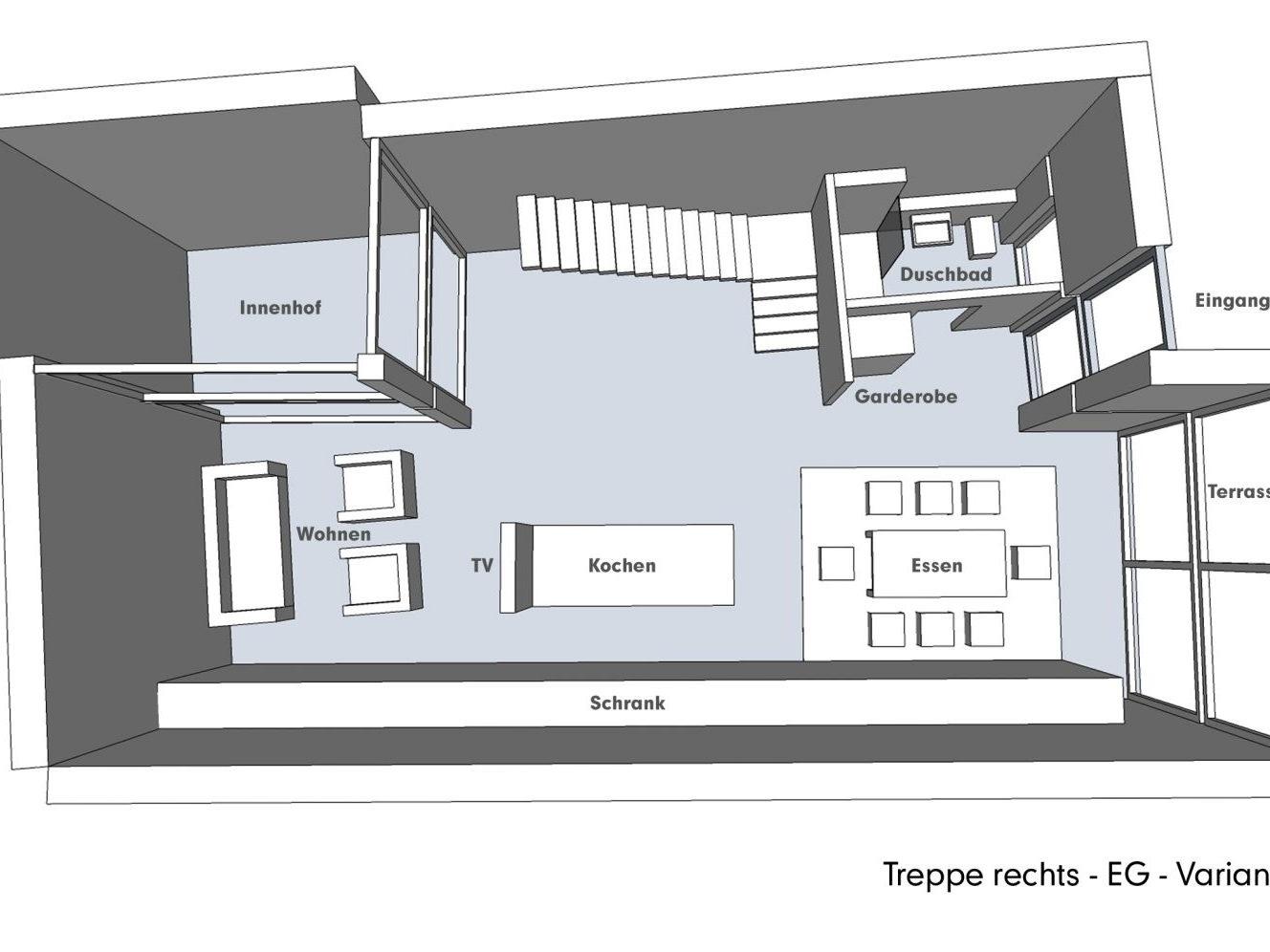 Nutzungskonzepte für Neubau - Treppe rechts - EG - Variante A