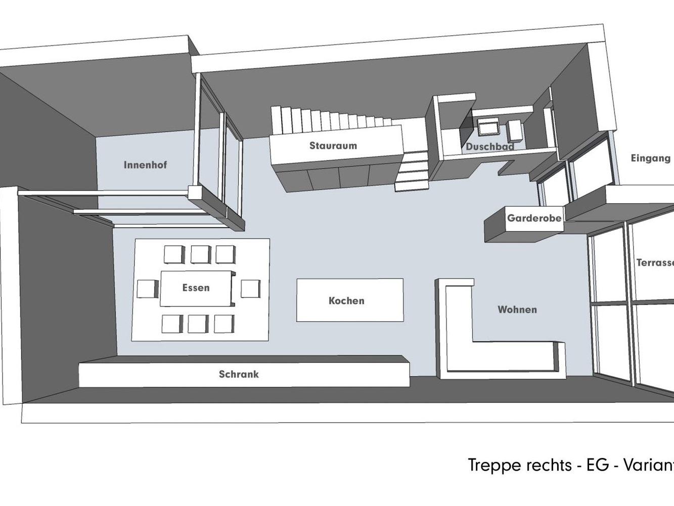 Nutzungskonzepte für Neubau - Treppe rechts - EG - Variante B