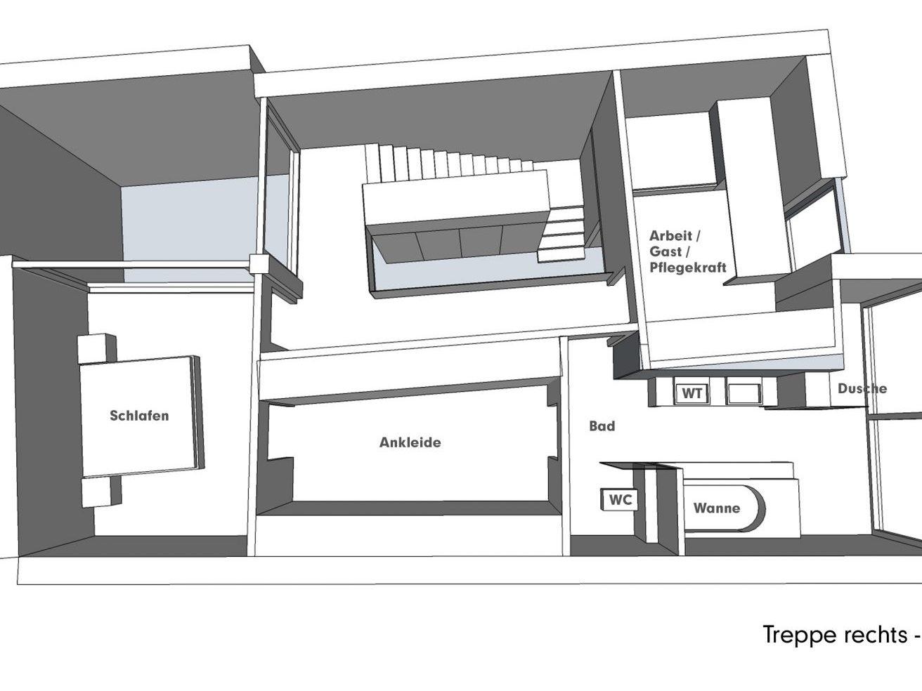 Nutzungskonzepte für Neubau - Treppe rechts - OG