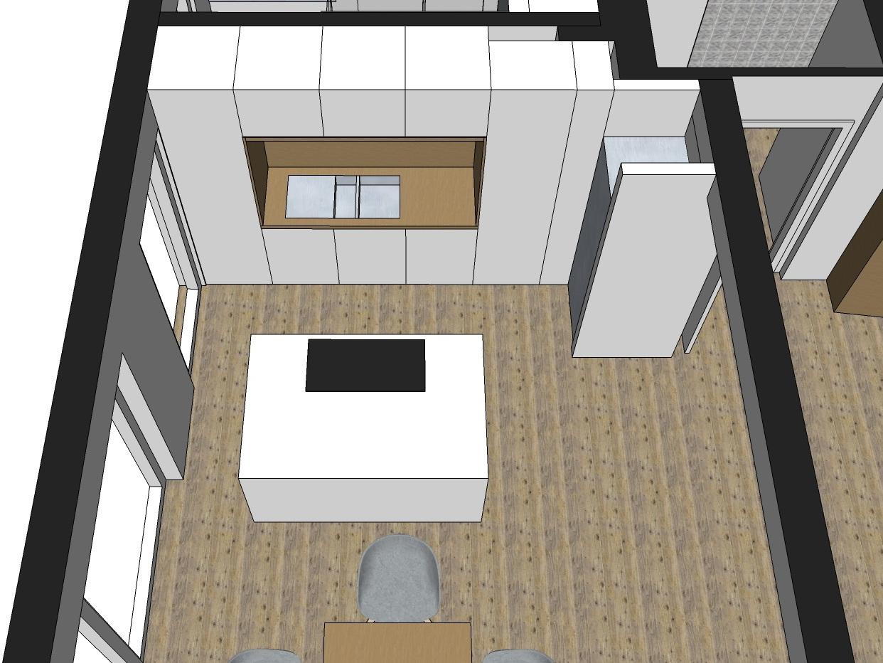 Aus vier mach eins - Visualisierung Küche