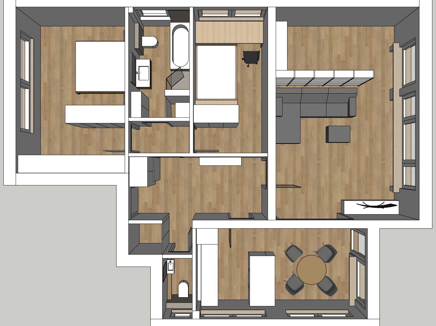 Raumkonzepte Wohnung - Variante 1