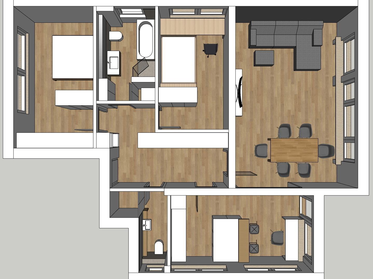 Raumkonzepte Wohnung - Variante 2