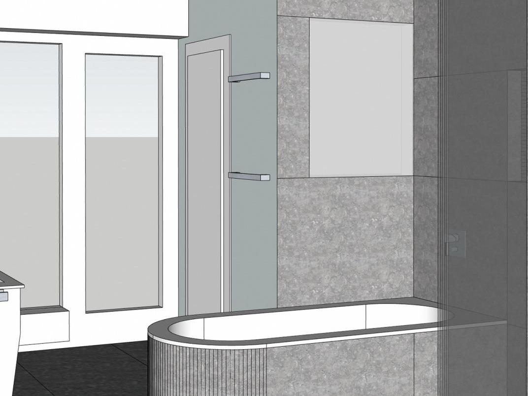 Weniger ist mehr - Visualisierung Wanne + WC-Raum
