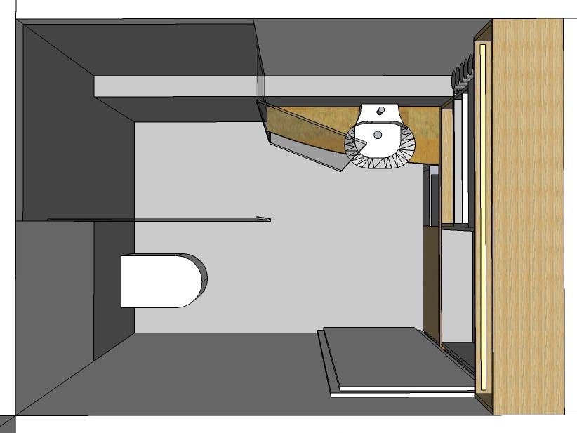 Einbau im Gästebad - Visualisierung von oben