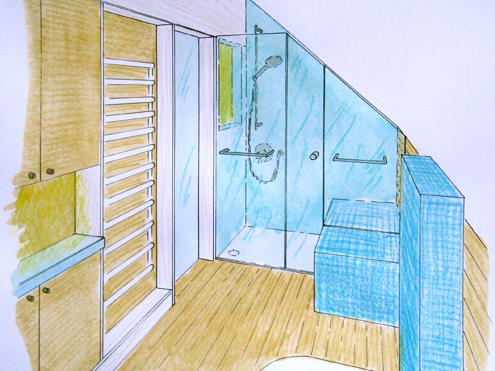 Bad in der Dachschräge - Perspektive Dusche