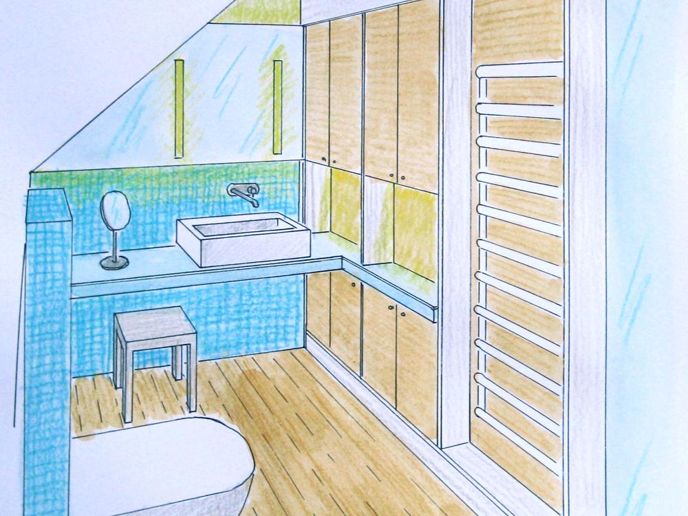Bad in der Dachschräge - Perspektive Waschplatz
