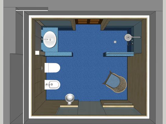 Umnutzung im Altbau - Visualisierung Bad von oben