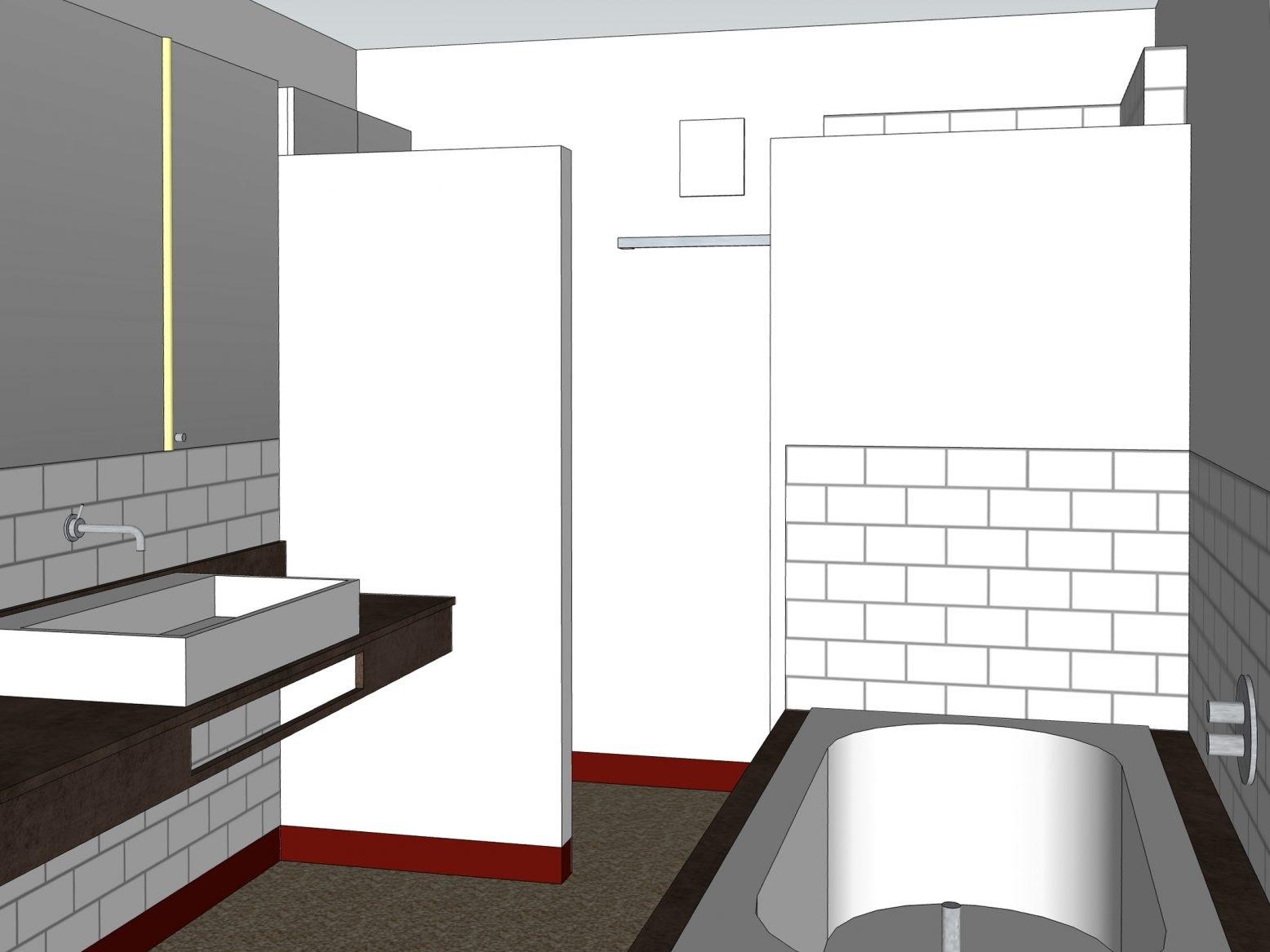 Paarbad mit Lichtkuppel - Visualisierung Duschtür geschlossen