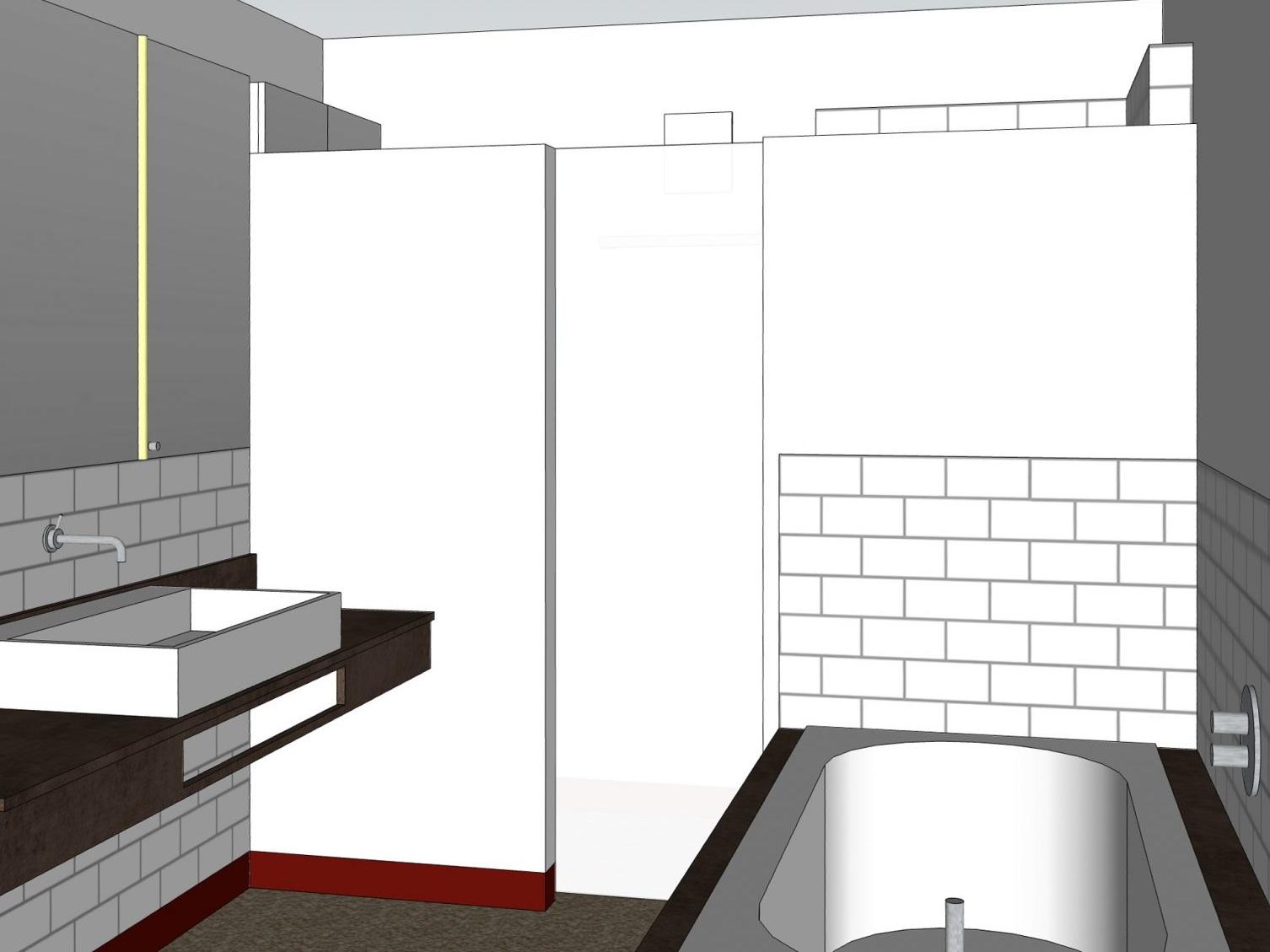 Paarbad mit Lichtkuppel - Visualisierung Duschtür geöffnet