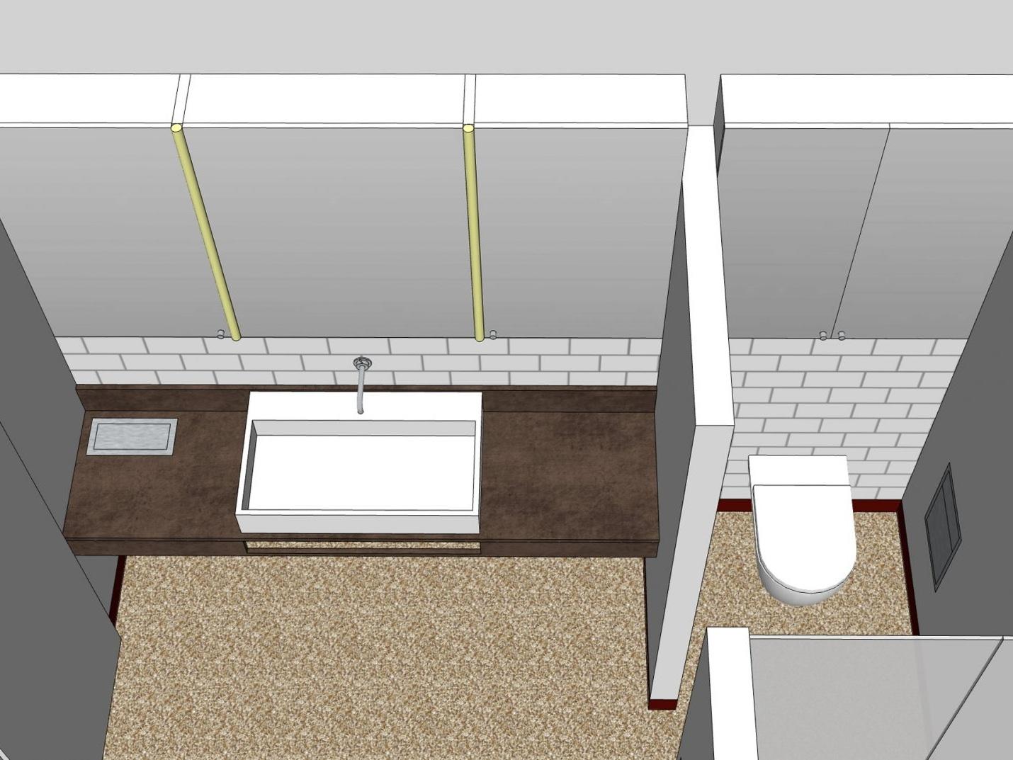 Paarbad mit Lichtkuppel - Visualisierung Waschplatz und WC