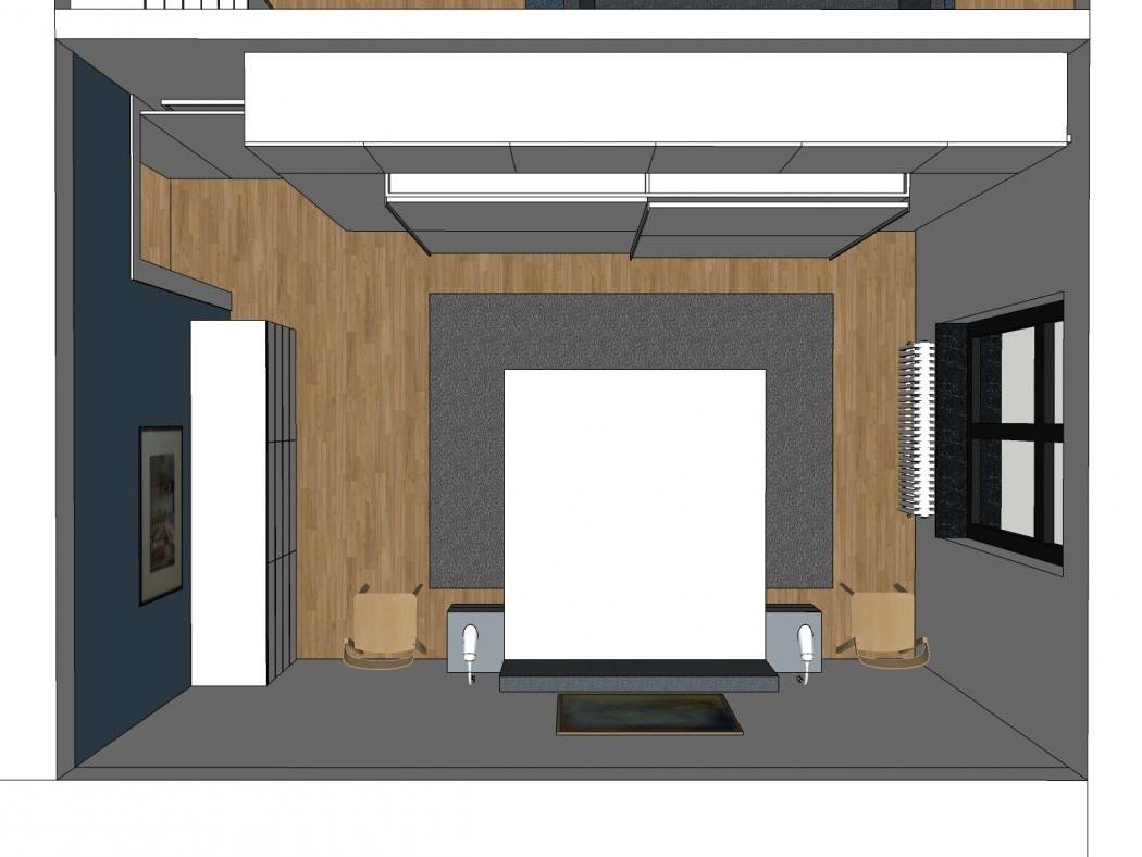 Ein Rahmen für den Kleiderschrank - Visualisierung Schlafraum von oben