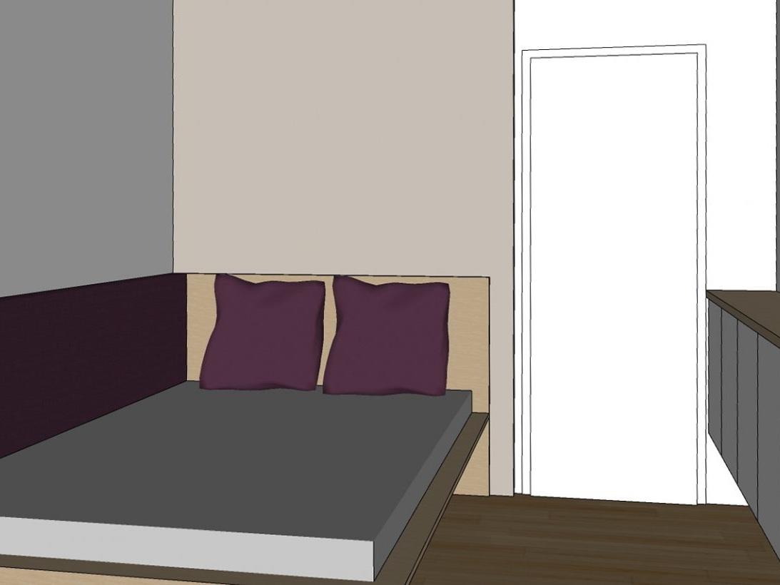 Gästezimmer auf Zeit - Visualisierung Bett