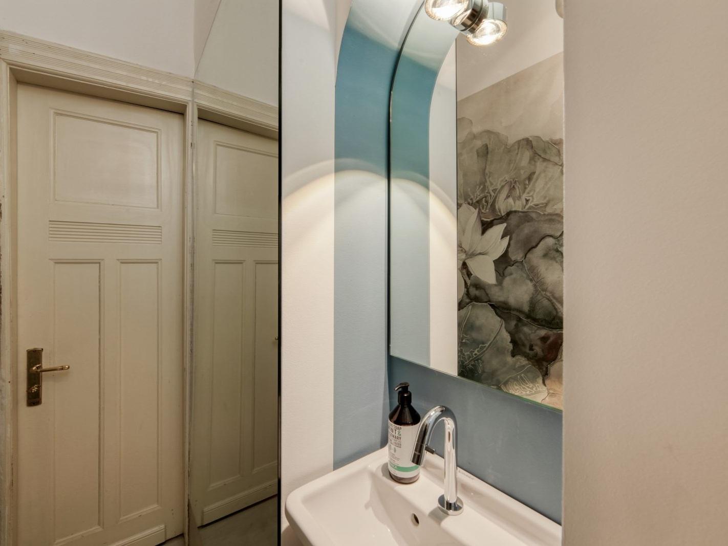 Seerosen im Spiegel - Nische mit Waschbecken und Spiegel