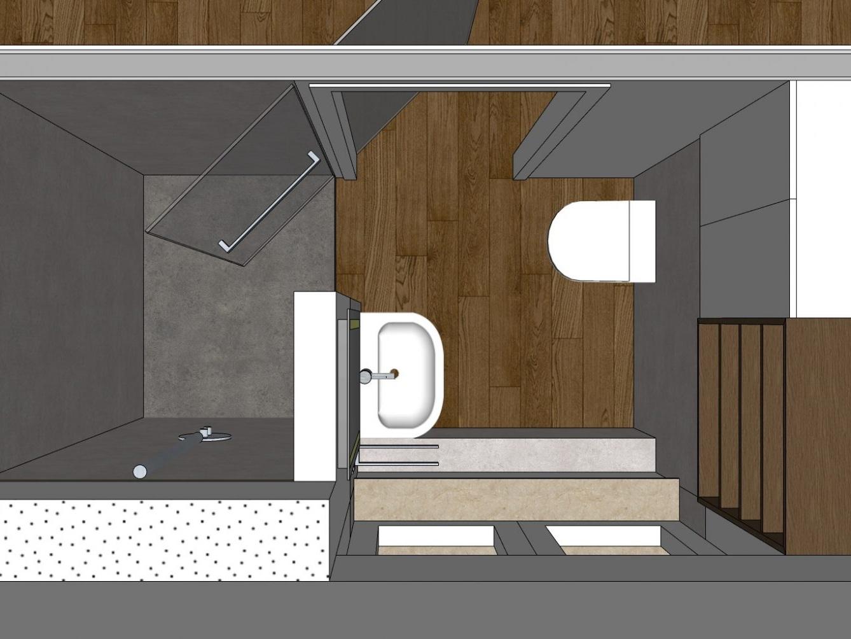 Bad-Kubus im Dachgeschoss - Visualisierung