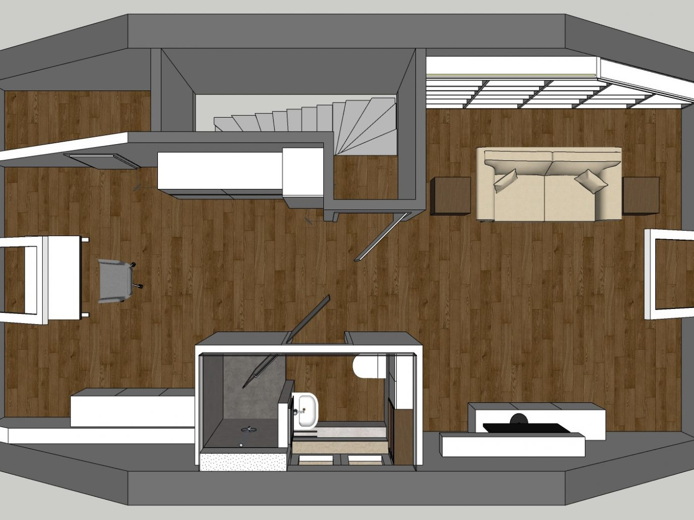 Bad-Kubus im Dachgeschoss - Visualisierung Dachgeschoss