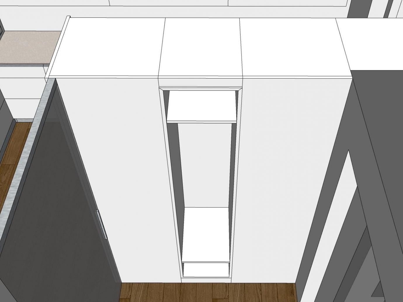 Eine Küche öffnet sich - Visualisierung Garderobe